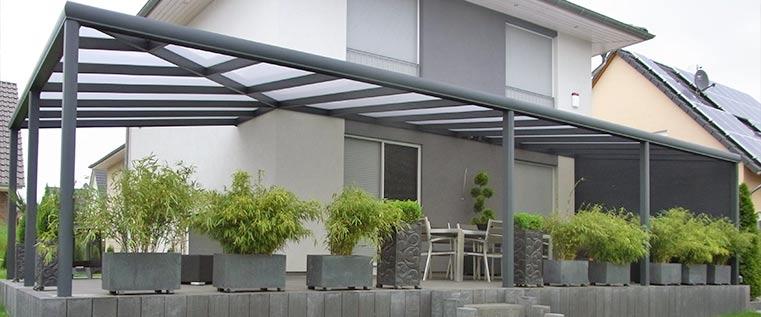 Terrassendach als Aufdachmontage von Ambitop Top-Terrassendach Wildau